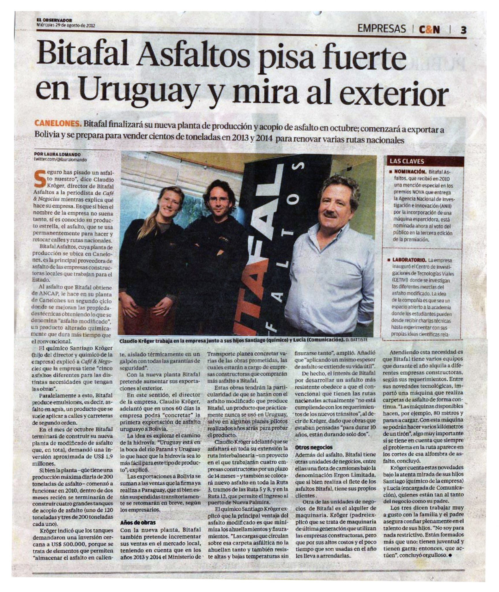 Bitafal Asfaltos pisa fuerte en Uruguay y mira al exterior