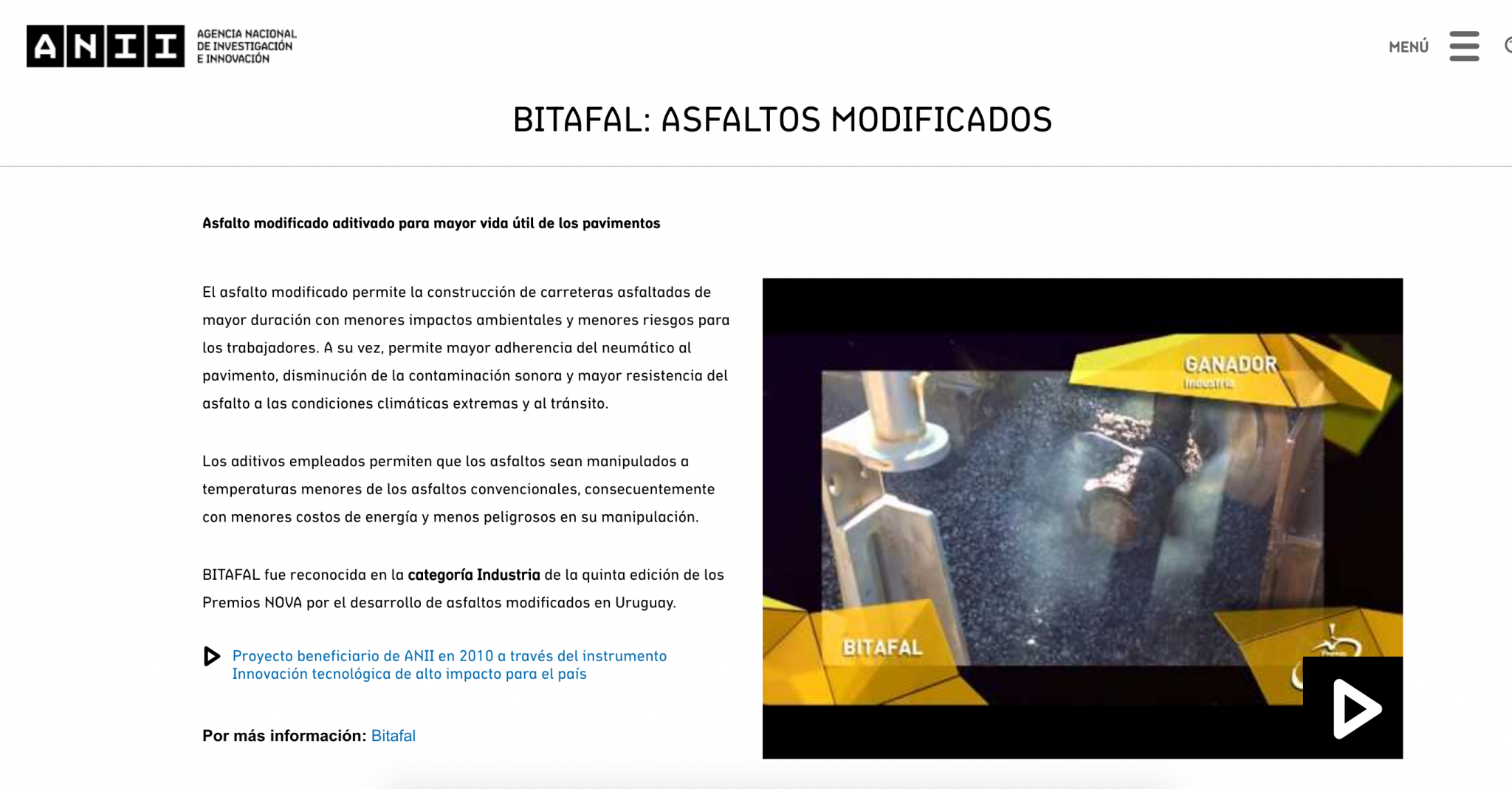Premio Nova por el desarrollo de Asfaltos Modificados en Uruguay