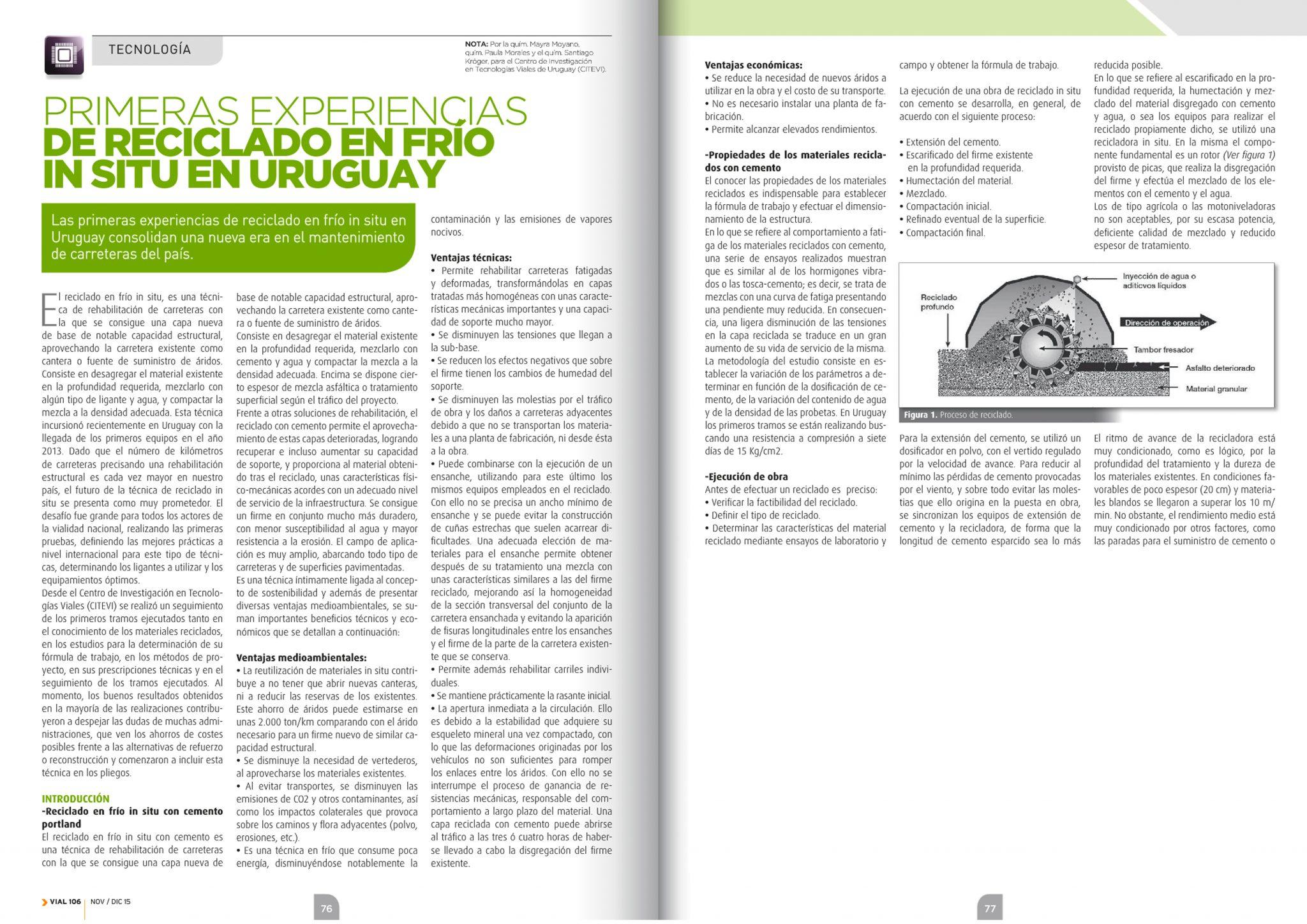 Primeras experiencias de reciclado en frío in situ en Uruguay