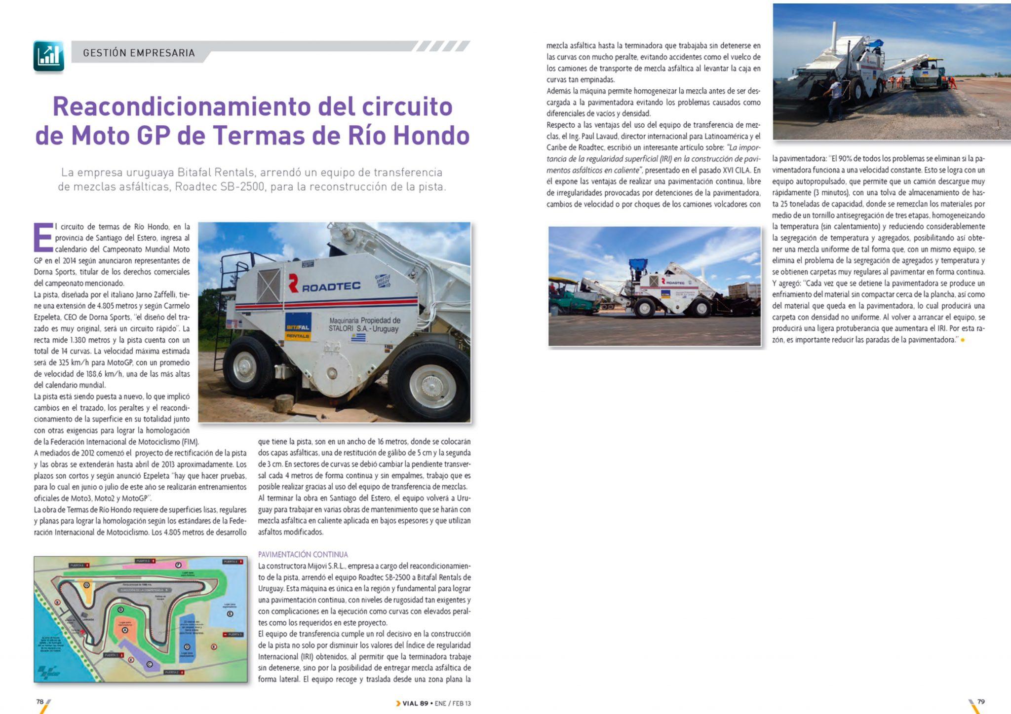 Reacondicionamiento del circuito de Moto GP de Termas de Río Hondo