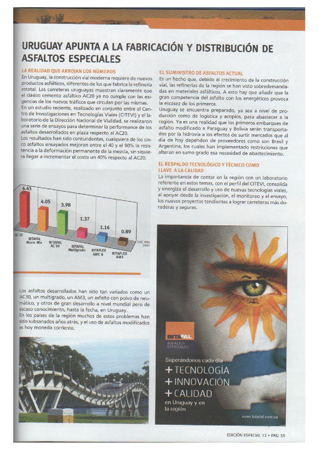 Uruguay apunta a la fabricación y distribución de asfaltos especiales