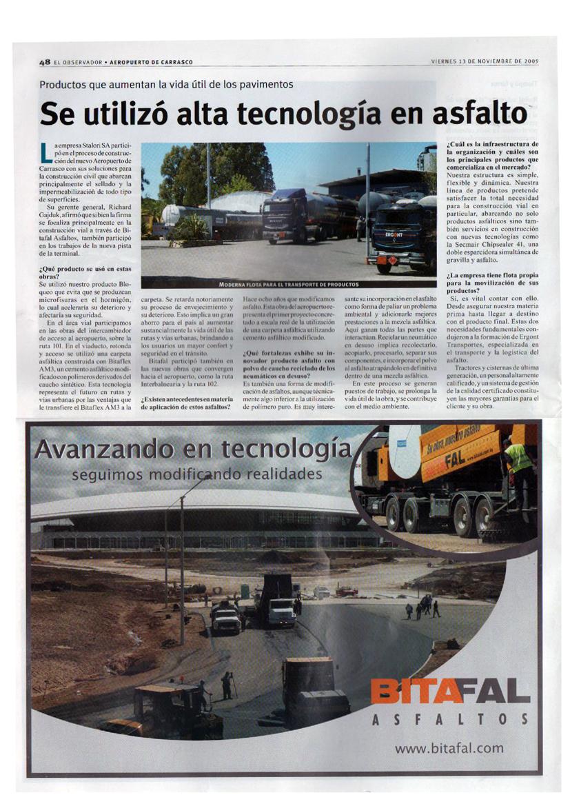 Productos que aumentan la vida útil de los pavimentos: Se utilizó alta tecnología en Asfalto