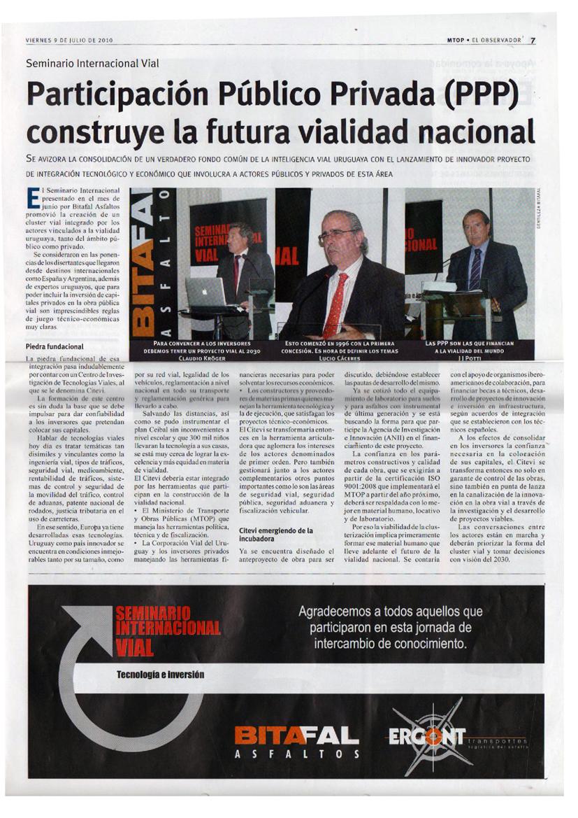 Participación Público Privada (PPP) construye la futura vialidad nacional