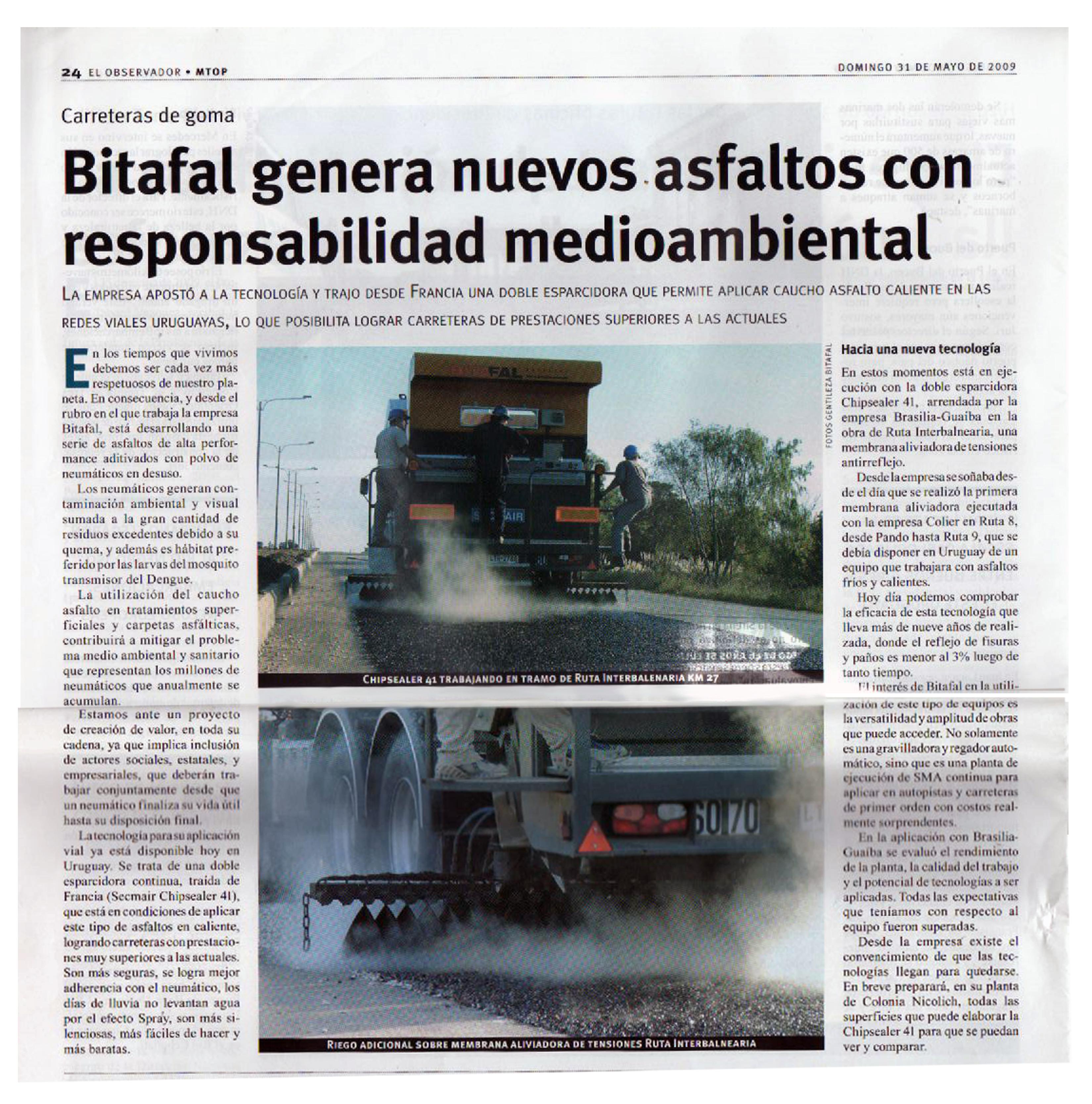 Bitafal genera nuevos asfaltos con responsabilidad medioambiental.