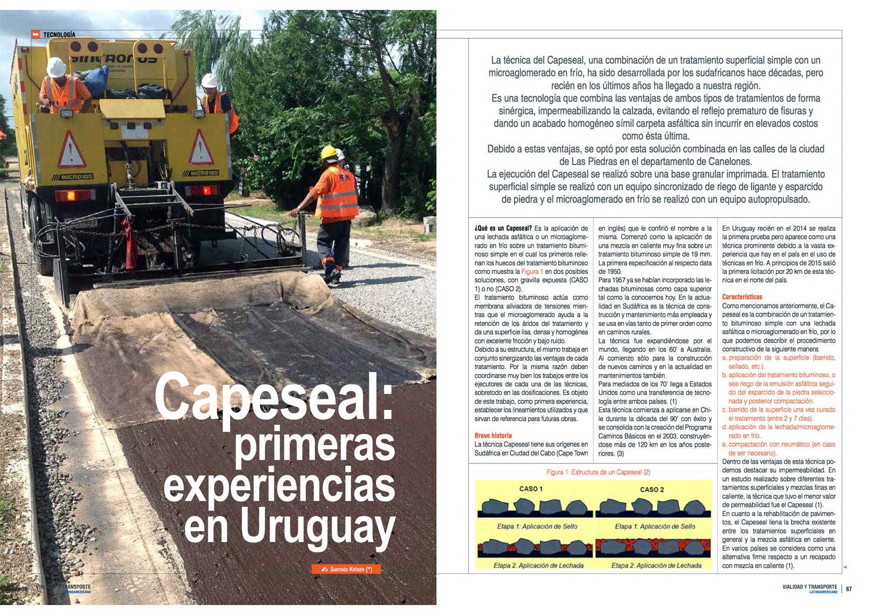 Capeseal: Primeras Experiencias en Uruguay