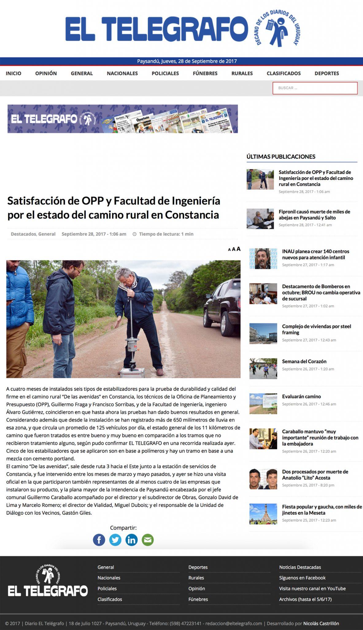 Satisfacción de OPP  y Facultad de Ingeniería por el estado del camino rural en Constancia