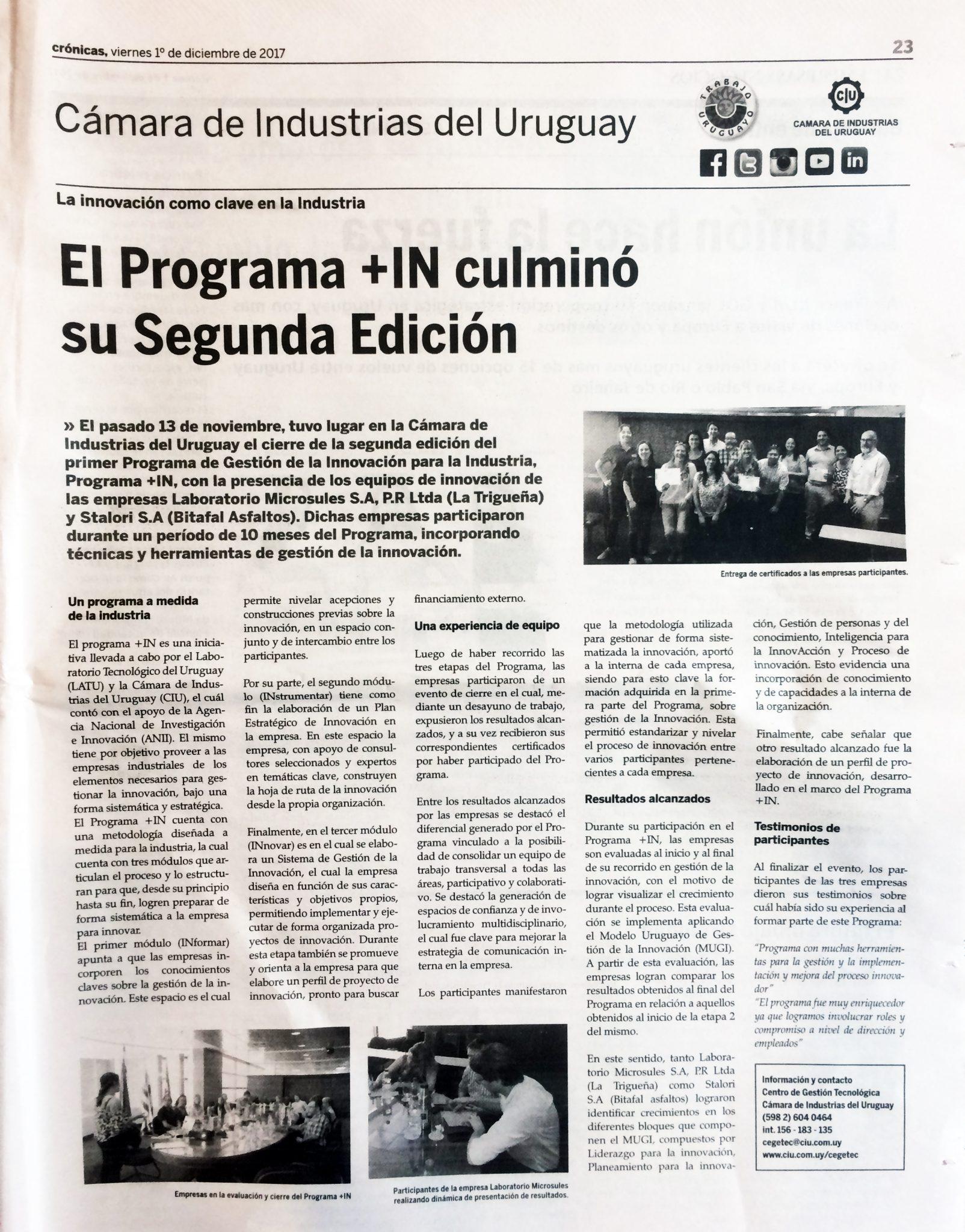 El Programa +IN culminó su segundo edición